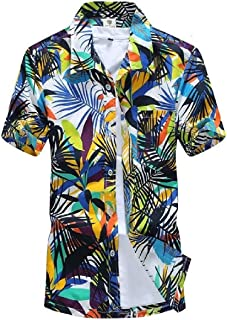 MK988 Mens Short Sleeve Quick Dry Casual Beach Floral Print Loose Shirt