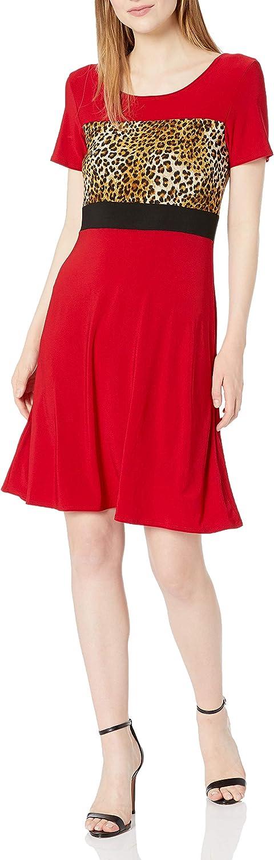 Star Vixen Women's Sleeve Ity Knit Leopard Colorblock Short Skater Dress with Siimming Black Waist Inset