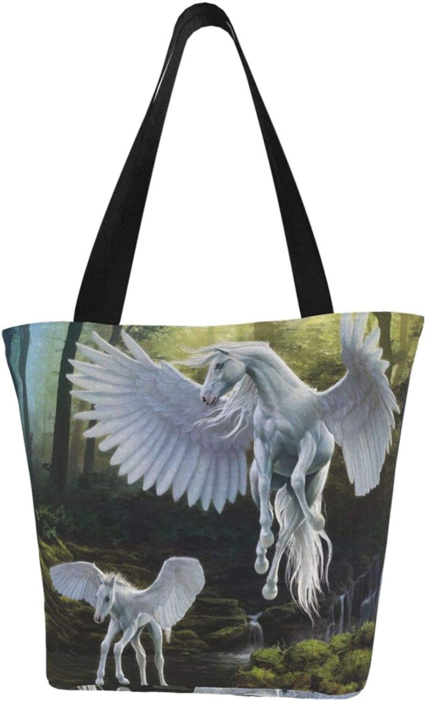 Pegasus Lovely White Horse Wings Forest Themed Printed Women Canvas Handbag Zipper Shoulder Bag Work Booksbag Tote Purse Leisure Hobo Bag For Shopping