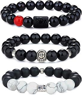 Milacolato 3 pièces 10mm Naturel Noir Onyx Pierre Bracelets Zodiaque Horoscope Bracelet à Breloques pour Hommes Femmes Con...
