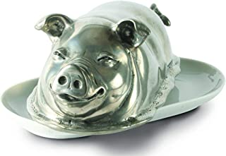 Vagabond House Pewter Happy Pig Butter Cream Cheese Dish