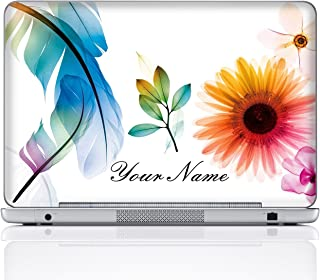 Meffort Inc Personalized Laptop Notebook Notebook Skin Sticker Cover Art Decal, Customize Your Name (14 Inch, White Flower Leaves)