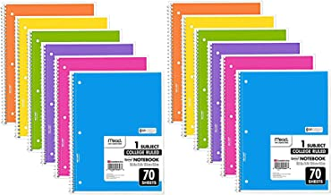 Mead Spiral Notebook, 12 Pack of 1-Subject College Ruled Spiral Bound Notebooks, Cute school Notebooks Pantone Colors, 70 ...