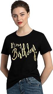 PINJIA Womens Cotton Short Sleeve Cute Birthday Girl Tshirts Top Tees(MXT10)