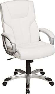 AmazonBasics High-Back Executive Swivel Office Desk Chair – White with Pewter..
