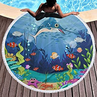 Thick Round Beach Towel Blanket Cute Ocean Sea World Fish Life Aquaitc Coral Floral Microfiber Terry Large Beach Roundie Circle Picnic Carpet Mat with Tassel for Girls/Women 59