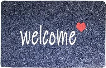 Welcome Mat with Non Slip Backing Super Absorb Mud Indoor Outdoor Doormat Easy Clean Entryway Front Door Mat