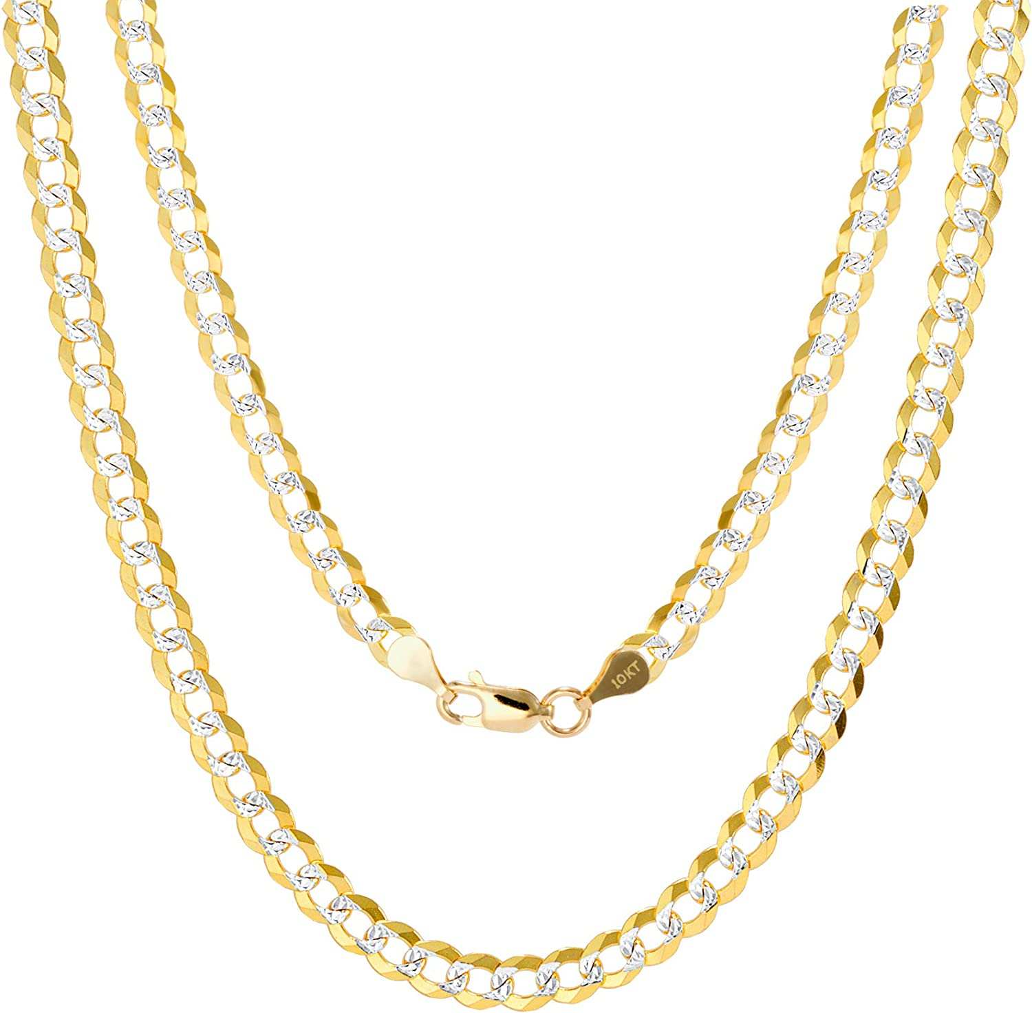 Nuragold 10k Yellow Gold Solid 5mm Cuban Chain Curb Link Diamond Cut Pave Two Tone Pendant Necklace, Mens Womens Lobster Lock 16