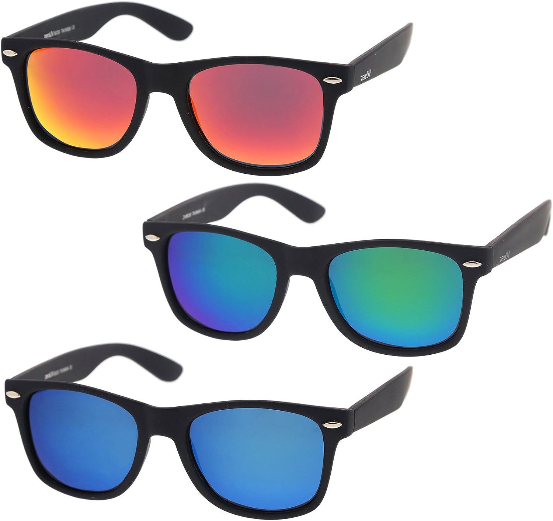 zeroUV - Retro 80's Classic Colored Mirror Lens Square Horn Rimmed Sunglasses for Men Women