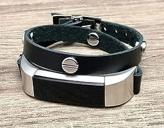 Black Leather Band For Fitbit Alta HR Tracker Handmade Double Tour Wrap Strap Bracelet Silver Jewelry Rivets Women & Men Wristband