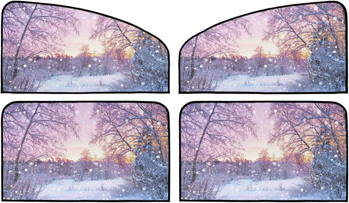 4 Piece Set Magnetic Car Roller Landsca Shade Sales Winter Beautiful New product type -