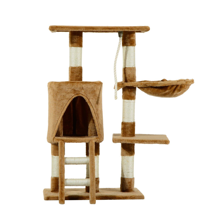 Pawhut Árbol para Gatos Rascador con Nido Plataforma Caseta Escalera Cuerda de Juego 30x55x96cm Tablero de Madera y Cubierto de Felpa Marrón: Amazon.es: Productos para mascotas