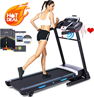 ANCHEER 3.25HP Automatic Incline Treadmill,Folding Treadmill with Bluetooth Speaker, Walking Jogging Running Machine with APP Control for Home Gym Fitness