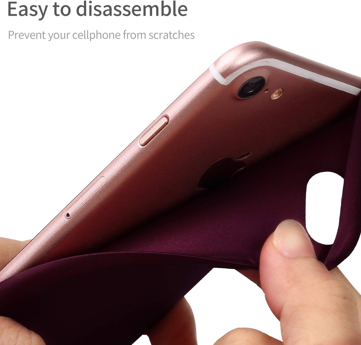 X-level for iPhone SE 2020 Case, for iPhone 7 Case, for iPhone 8 Case Ultra Thin Soft TPU Back Cover Phone Case Matte Finish Coating Grip Cover Compatible iPhone 7/8/se 2020 - WineRed