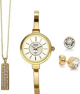 Burgi Women's Jewelry Gift Set – Half Bangle Diamond Watch, Circle Pendant Necklace and Open Bangle Bracelet – Flash Plated Gold - BUR208