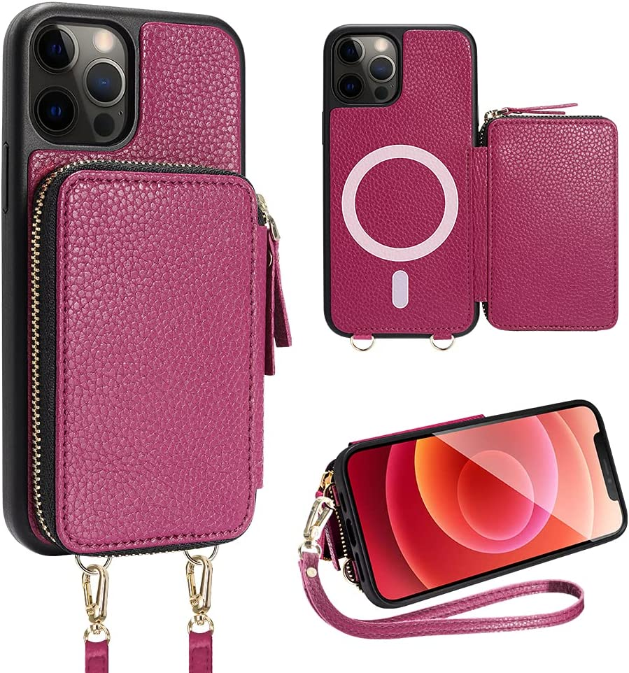 ZVE iPhone 12 Pro Magsafe Crossbody RFID Blocking Wallet Case, iPhone 12 Wireless Charging Purse Case Cover with Card Holder Wrist Strap for iPhone 12/12 Pro, 6.1 inch-Rose Purple