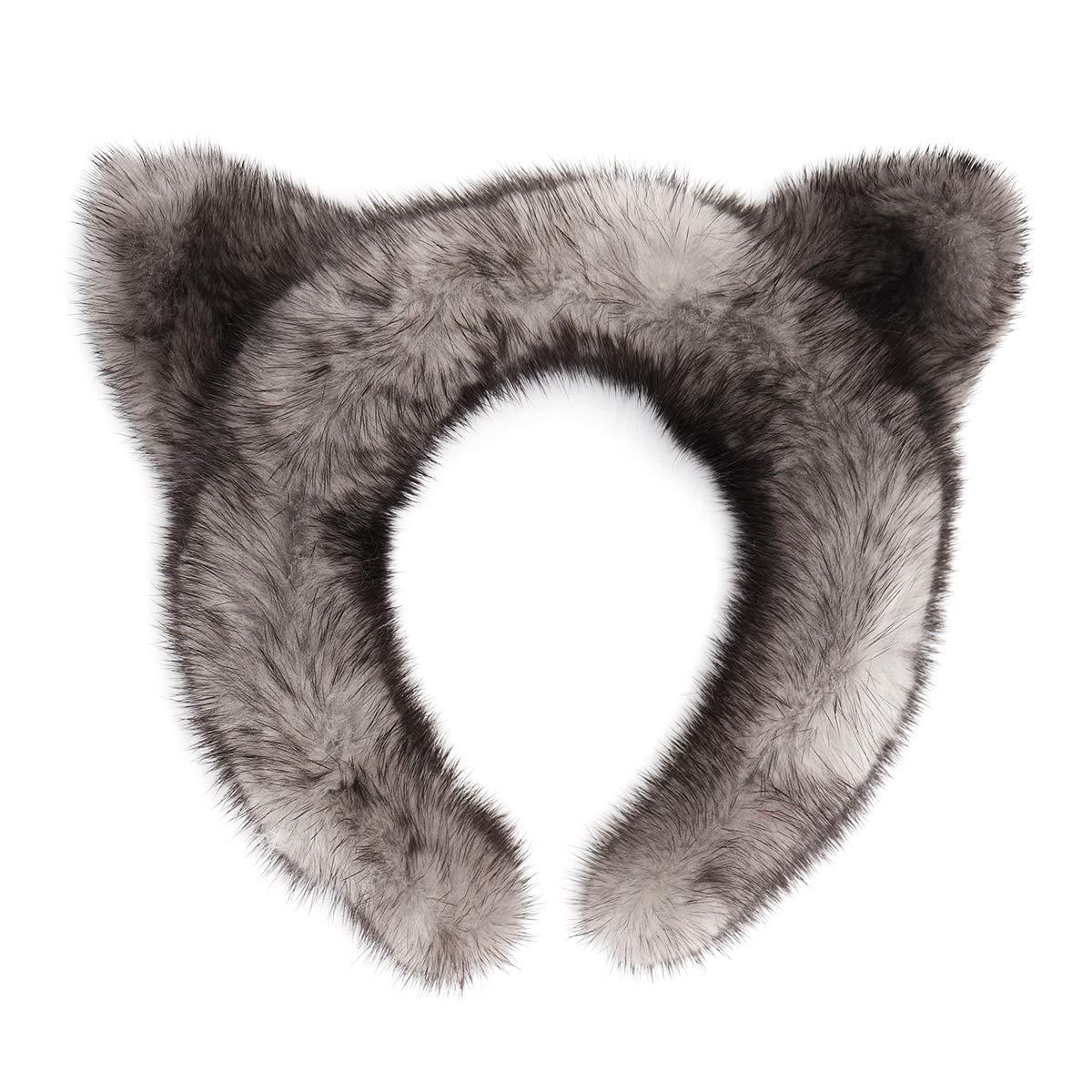 surell Genuine Mink Fur Cat Ear Headband - Winter Fashion Animal Hair Band Accessory - Luxury Headwear (Grey)