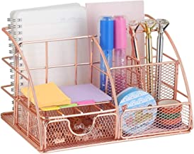 Rose Gold Desk Organizer with Drawer,File Tray and 4 Upright Sections for..