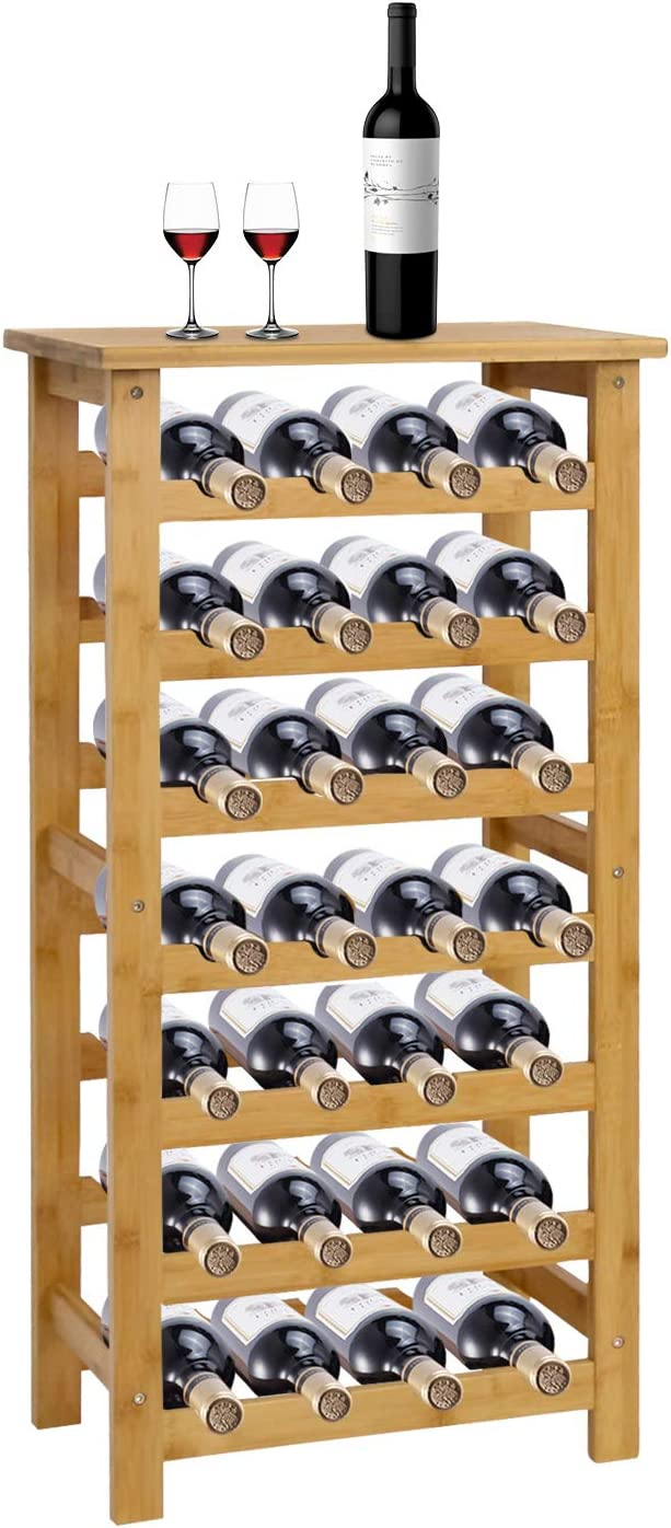 Kinsuite 7-Tiers Wine Rack for Free 28 Max 86% OFF quality assurance Standing Storing Bottles