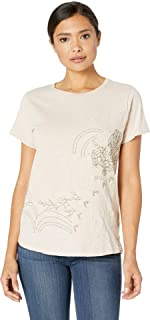Lucky Brand womens FLORAL SCOOP NECK TEE IN MUSHROOM T-Shirt