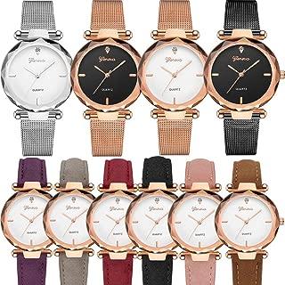 10 Pack Wholesale Women Watches Leather Rhinestone Inlaid Quartz Jelly Dress Wristwatch