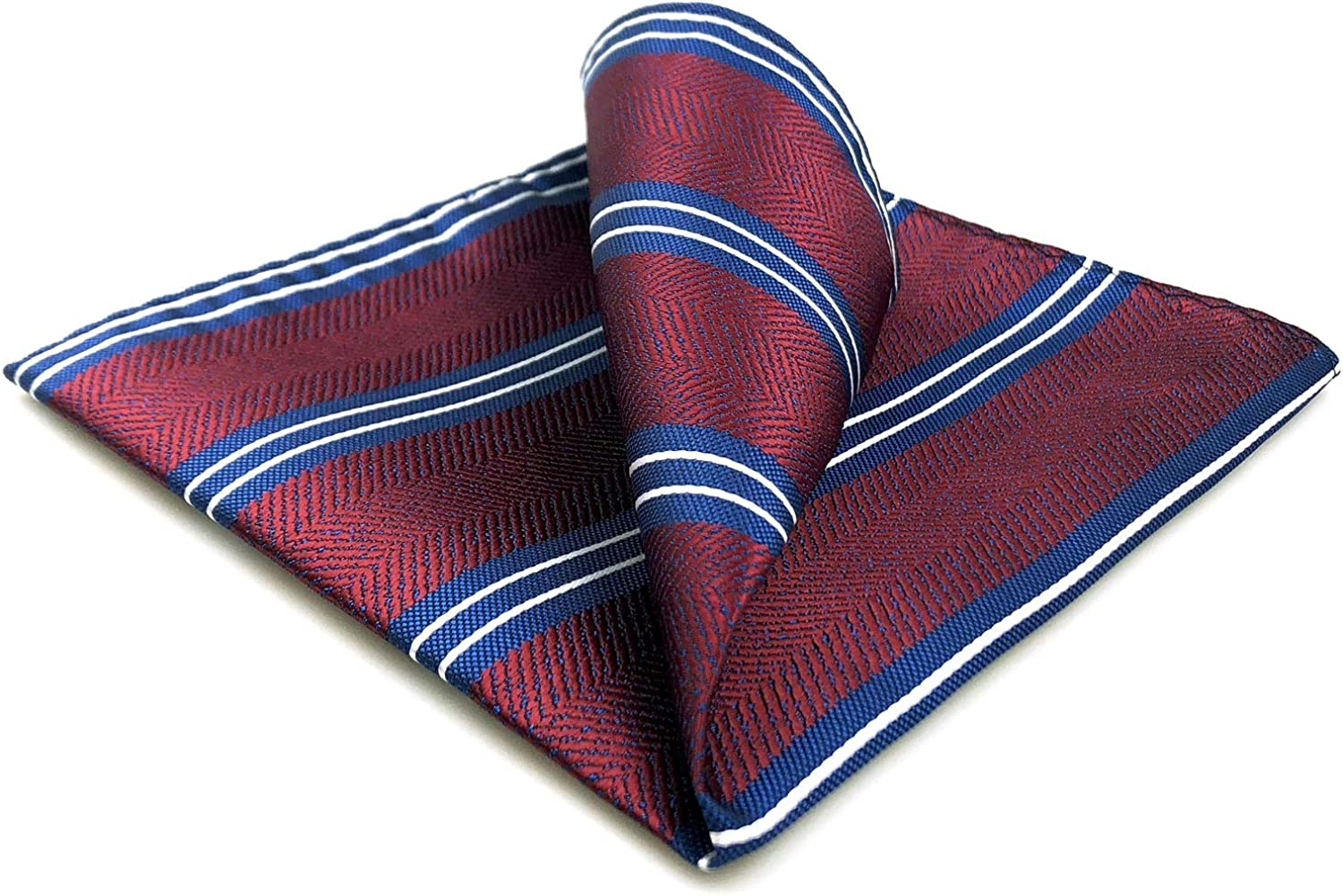 S&W SHLAX&WING Pocket Squares for Men Maroon Blue Red Striped