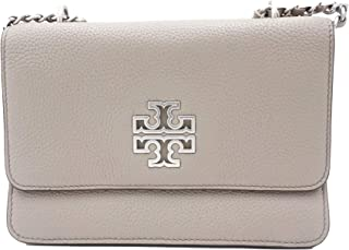 Tory Burch 73505 French Grey/Silver Hardware Women's Britten Small Adjustable Shoulder Bag