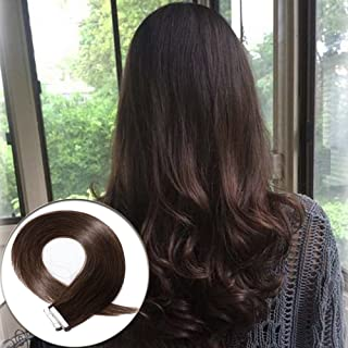 Tape in Human Hair Extensions 22 inch Skin Weft Dark Brown Remy Straight Human Hair Seamless Skin Weft 40pcs 100g #2 +20pcs Free Tapes