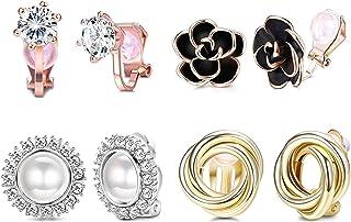 YADOCA 4 Pairs Clip Earrings for Women Fashion Rose Flower CZ Pearl Twist Knot Hypoallergenic Non Pierced Clip On Earrings