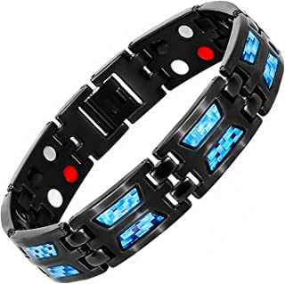 Hottime Double Row 4 in 1 Bio Elements Energy Pure Titanium Magnetic Therapy Bracelet Men's Fashion Blue Carbon Fiber Jewelry