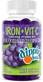 Dippin' Dots - Iron with Vitamin C & B12 Gummies (120 Count) Vital for Red Blood Cell Formation | Gum Drop Grape Real Pect...