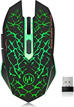 VEGCOO C12 Rechargeable Wireless Gaming Mouse Mice Silent Click Cordless Mouse 7 Smart Buttons PC Gaming Mouse Mice Advanced Technology with 2.4GHZ Up to 2400DPI (C12 Green)