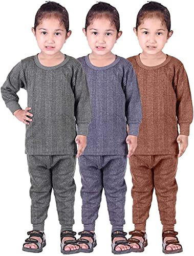 Mahi Fashion Round Neck Baby Thermal Suit Top & Pajama Set for Baby Boys & Baby Girls Pack of 3 (Baby Kids Thermal)