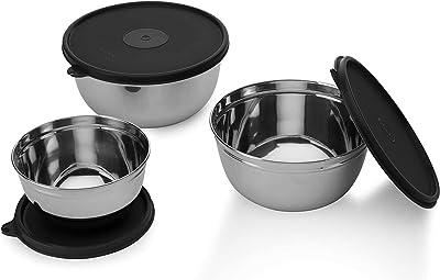 Signoraware Mixing Bowl Steel 500 Ml+ 1000 Ml+ 1350 Ml, Set of 3, Black