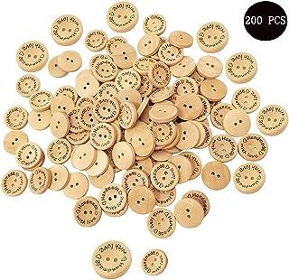 Amaoma Handmade Label Holzkn/öpfe Kn/öpfe zum Basteln 15mm 20mm Runde Handwerk Kn/öpfe Holz Knopf Kleidung Deko DIY Kleine Knopf mit 2 L/öcher f/ür N/ähen Basteln Scrapbooking Dekorationen 200 St/ück