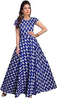 Trendy Fab Women's Cotton Half Sleeve Floral Print Flared Dress Blue