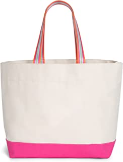 Cinda b. Canvas Collection Family Tote, Natural/Pink (Off-White) - 906301