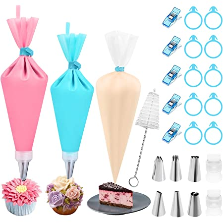 Piping Bags and Tips Set, IVARSOYA Disposable Piping Bags and Silicone Reusable Pastry Bags, Stainless Steel Piping Tips, Bag Ties, Bag Clips, Couplers and Tip Brush (A)