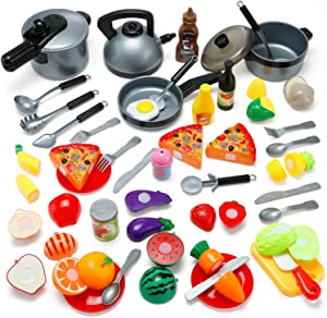 Theefun Kitchen Toys, Pretend Play Cooking Sets for Kids, 46Pcs Kitchen Accessories Included Cutting Play Food Toy and Other Cooking Toys, Educational Toys Gifts for Boys Girls 3 4 5 6 Years Old