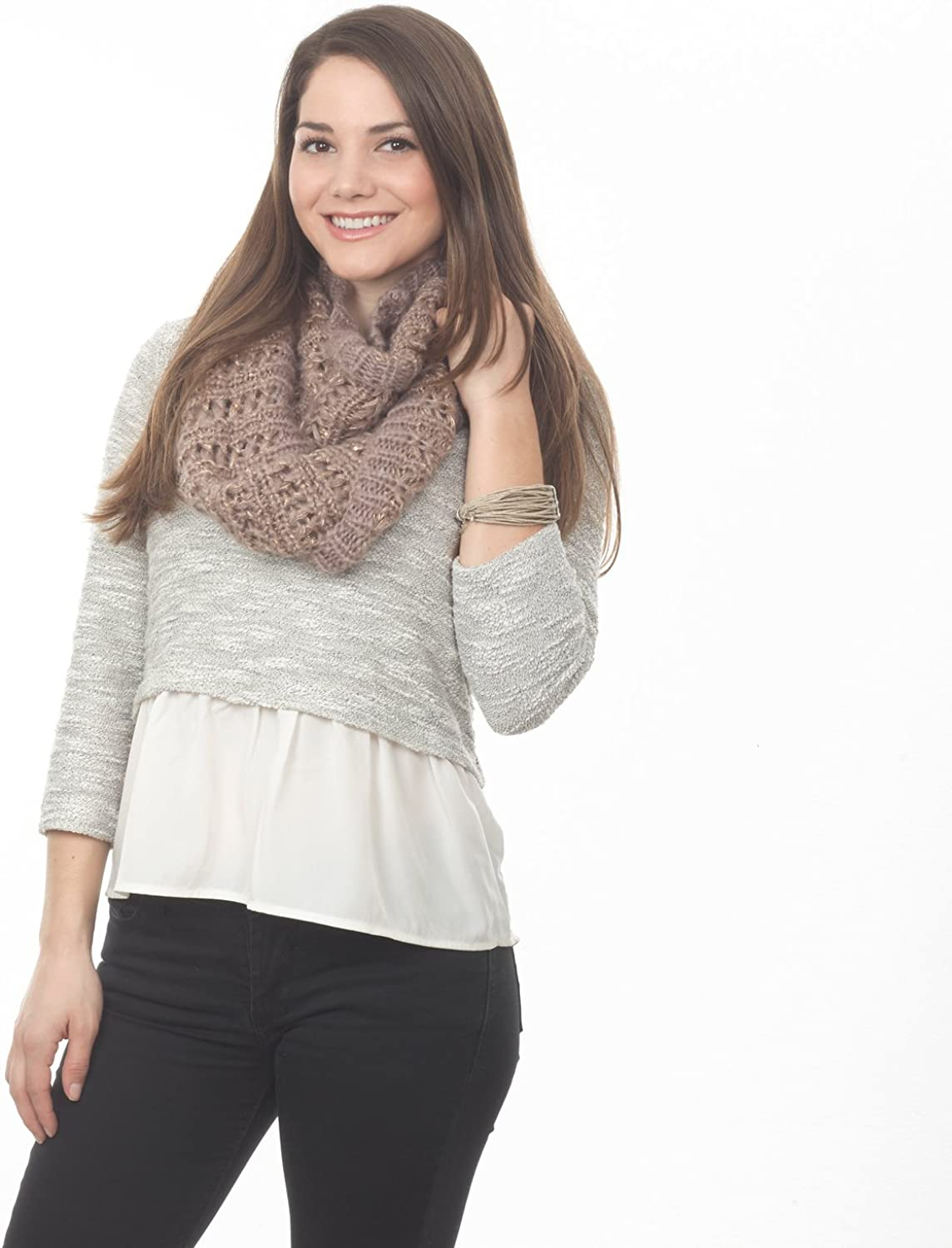 Saro Lifestyle Taupe Knitted Infinity Scarf  11 x20 , 100% acrylic