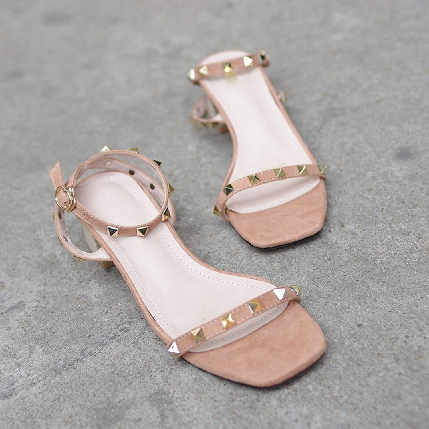 DHG Rivet Sandals Female with Retro Fine Ribbon with Wild Thick with Fairy High Heel Sandals