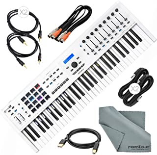 Arturia KeyLab MKII 61 Professional MIDI Keyboard Controller and Software with Assorted Cables Bundle (White)