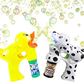 ArtCreativity Duck and Dalmatian Bubble Blaster Set, Includes Dalmatian Bubble Gun with Light and Sound, A Light-Up Duck Bubble Gun and 4 Bottles of Solution, Great Gift for Kids - Batteries Included