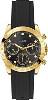 GUESS Women's Stainless Steel Quartz Watch with Silicone Strap, Black, 20 (Model: GW0315L1)