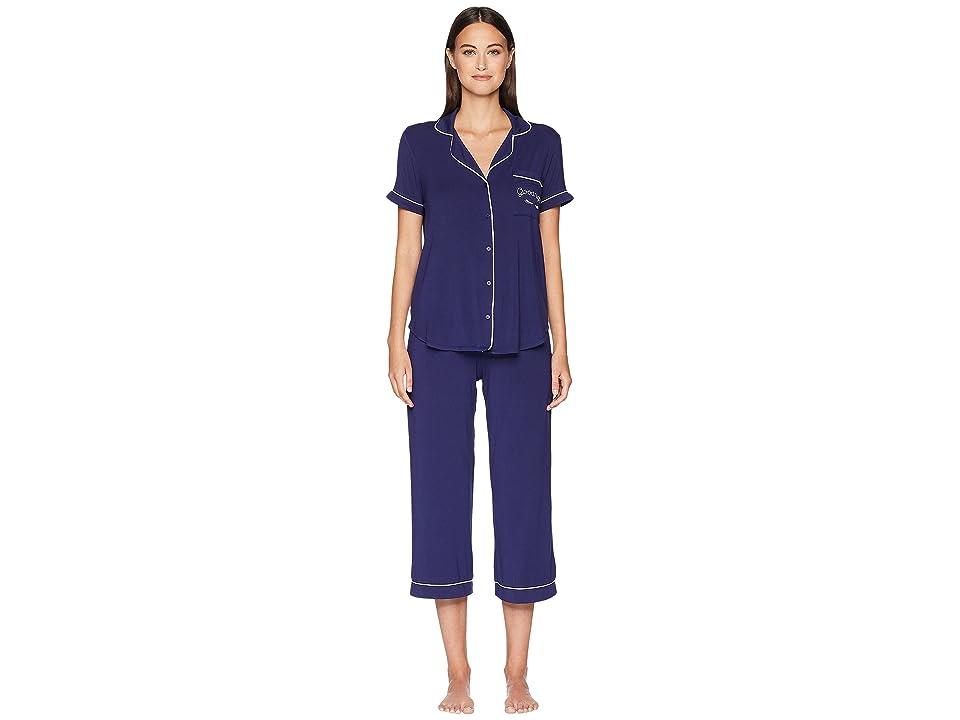 Kate Spade New York Goodnight Cropped Pajama Set (Navy) Women