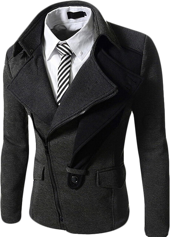 GAGA Men's Inclined Zipper Slim Fit Trench Coat Jacket