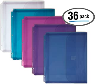 Extra Durable Poly Binder Pockets with 1-Inch Expansion Gusset, 36 Pack, Binder Organizer, Letter Size, by Better Office Products, for 3-Ring Binders, Assorted Colors, Transparent, Side Loading