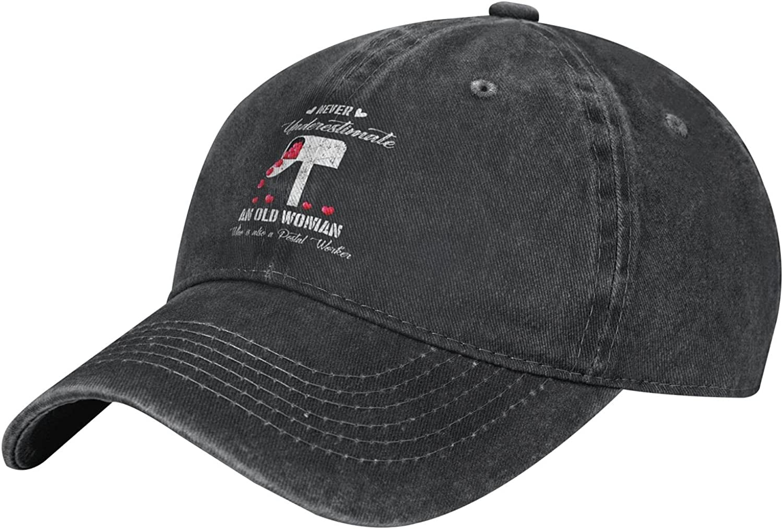 Never Underestimate an Old Woman Postal Worker Baseball Cap, Adjustable Vintage Washed Denim Cotton Outdoor Sun Hat