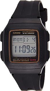 ساعة يد بمينا رمادي اللون وسوار من السيليكون للرجال من كاسيو - W-201WA-9ADF