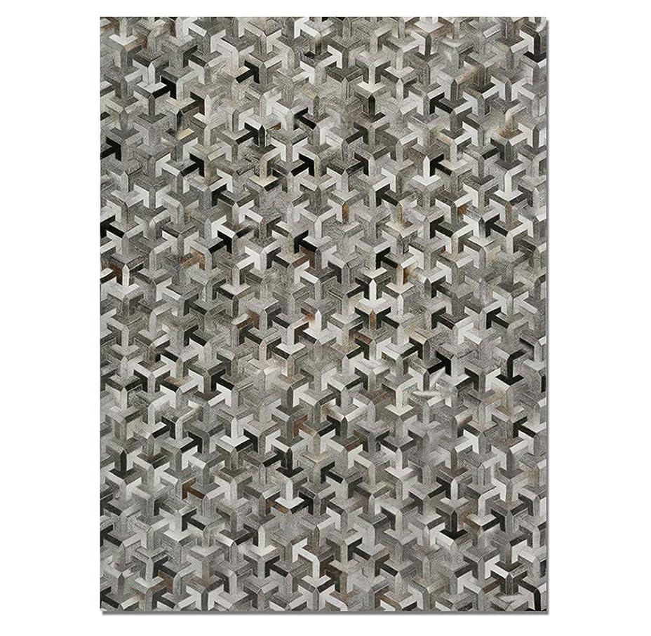 クリア落胆する政策汚れたグレーのパッチワークエリアラグ、100%動物性牛皮、手作り織り牛革本当に革の皮、滑り止めの滑り止め、オフィスリビングルームの保護床,Triangle,1.4×2m